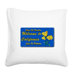 Welcome to California Square Canvas Pillow