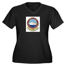 Unique Oasis of the seas Women's Plus Size V-Neck Dark T-Shirt
