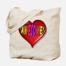 Awesome Heart with Rainbow Font Tote Bag