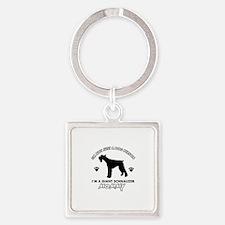 Giant Schnauzer dog breed design Square Keychain