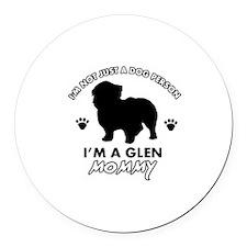 Glen dog breed design Round Car Magnet