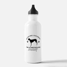 Greyhound dog breed designs Water Bottle