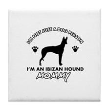 Ibizan Hound dog breed design Tile Coaster