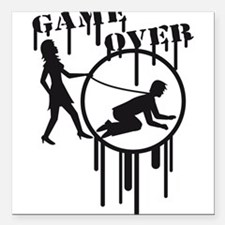 "game_over_graffiti_stamp Square Car Magnet 3"" x 3"""