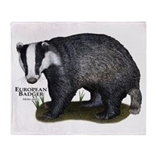 European Badger Throw Blanket