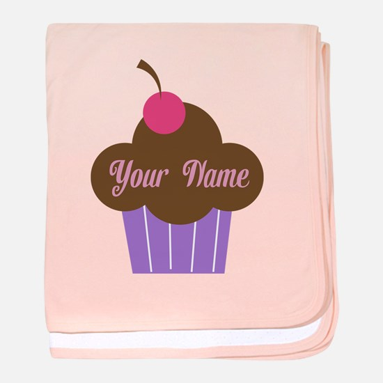 Personalized Cupcake baby blanket