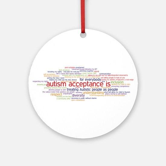 autism acceptance word cloud Ornament (Round)