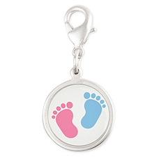 Baby feet Silver Round Charm