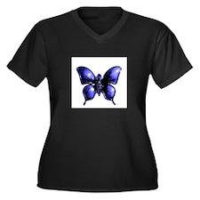 Purple Buttterfly Design Plus Size T-Shirt