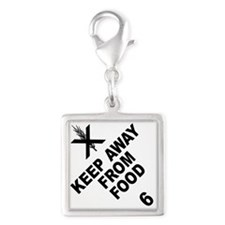 Keep Away From Food Silver Square Charm