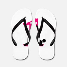 First Birthday Black and Pink Poodle Flip Flops