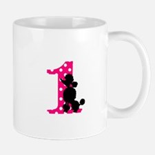 First Birthday Black and Pink Poodle Mug