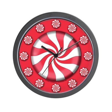 Peppermint Candy Christmas Wall Clock