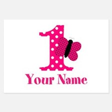 Pink Butterfly First Birthday Flat Cards