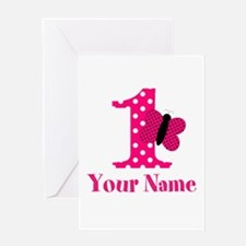 Pink Butterfly First Birthday Greeting Card