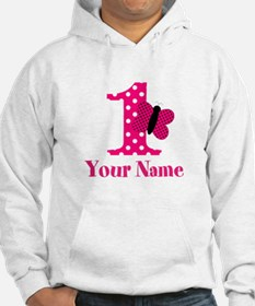 Pink Butterfly First Birthday Hoodie