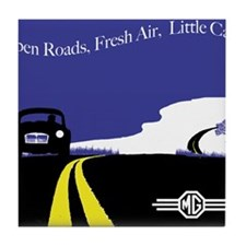 Open Roads, Fresh Air, Little Cars Tile Coaster