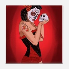 Skull Love - dia de los muertos Pin-up Tile Coaste