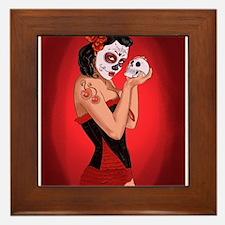 Skull Love - dia de los muertos Pin-up Framed Tile