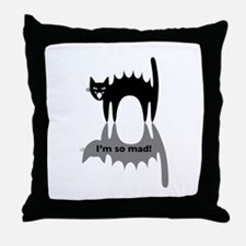 "Angry Cat ""I'm so mad!"" Throw Pillow"