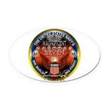Navy Seabees Magnificent 7 Oval Car Magnet