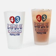 43 year old birthday designs Drinking Glass