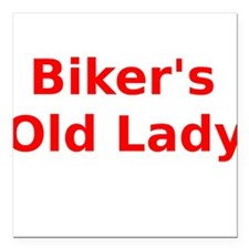 """Bikers Old Lady Square Car Magnet 3"""" x 3"""""""