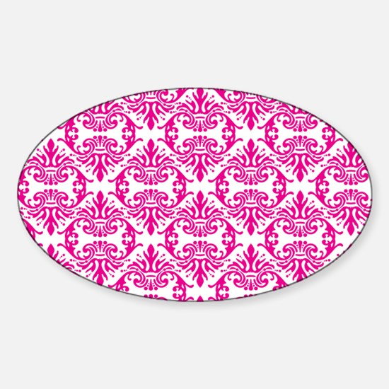 Damask Pink on White Decal