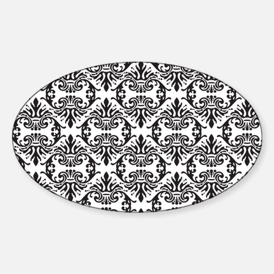 Damask Black on White Decal