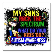 "Rock Spectrum Autism Square Car Magnet 3"" x 3"""