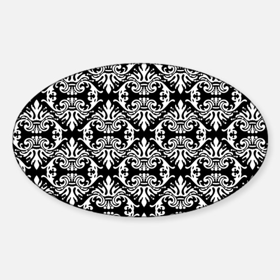 Damask White on Black Decal
