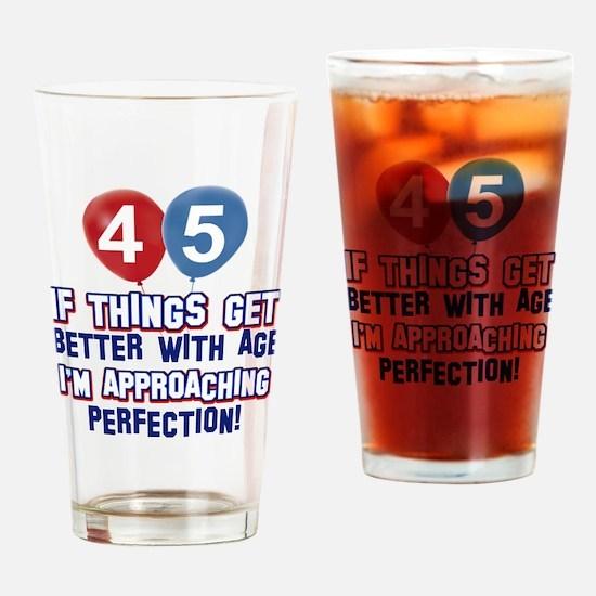 45 year old birthday designs Drinking Glass