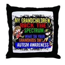 Rock Spectrum Autism Throw Pillow