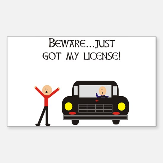 CAUTION NEW LICENSE Rectangle Decal