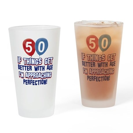 50 year old birthday designs Drinking Glass