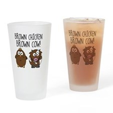 Cute Brown Chicken Brown Drinking Glass