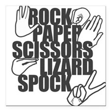 Rock Paper Scissors Lizard Spock Square Car Magnet