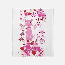 Fancy Pink Cat Throw Blanket