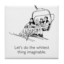 Whitest Thing White Tile Coaster