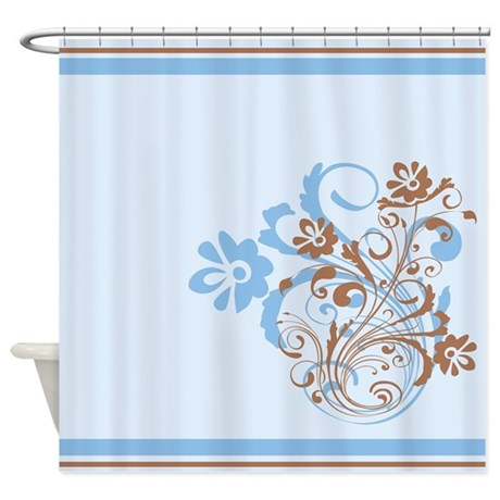 flowered blue and brown shower curtain by