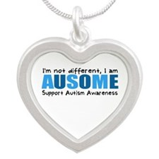 Im not different, I am Ausome! Silver Heart Neckla