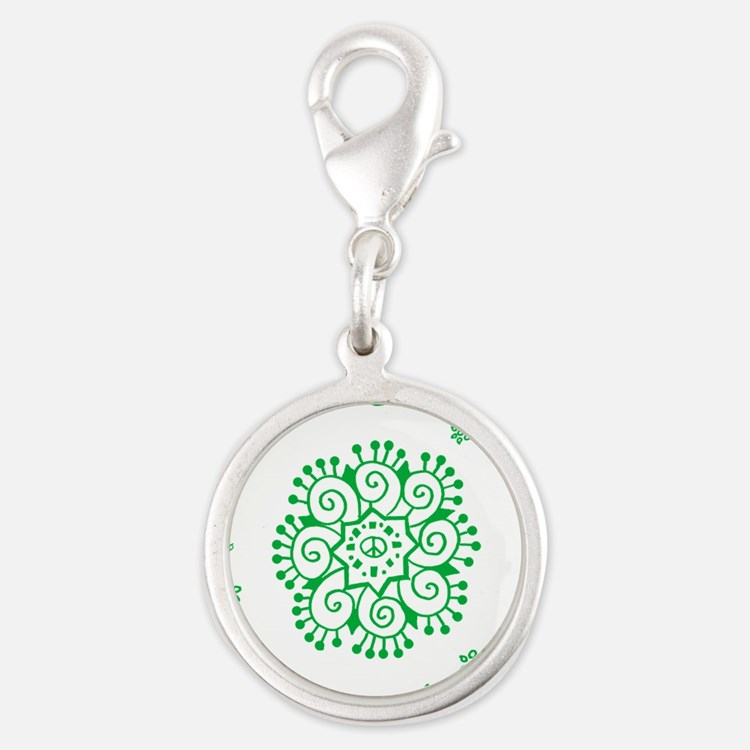 Tribal Peace Wreath Silver Round Charm