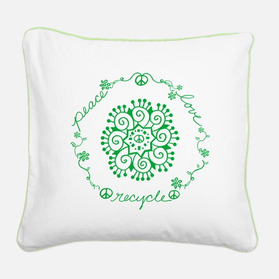 Tribal Peace Wreath Square Canvas Pillow