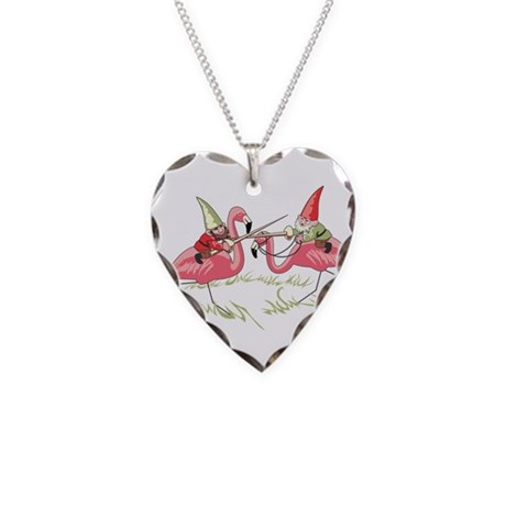 Jousting Gnomes Heart Necklace