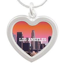 Unique Santa monica city Silver Heart Necklace