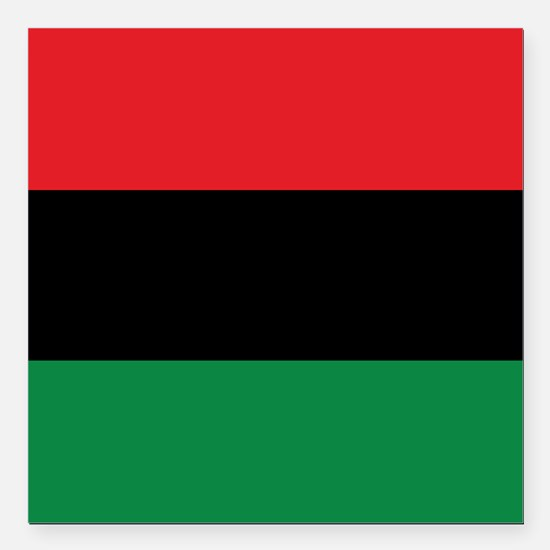 """The Red, Black and Green Flag Square Car Magnet 3"""""""