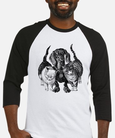 dachshund with cats sq.png Baseball Jersey