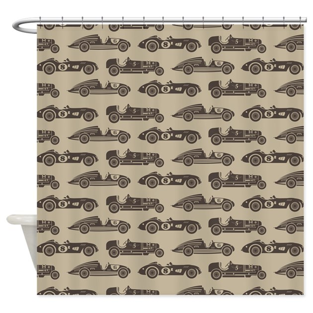 Vintage old fashioned race cars shower curtain by for Race car shower curtain