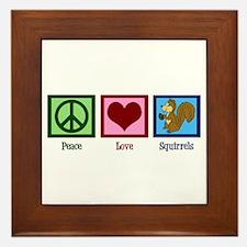 Peace Love Squirrels Framed Tile
