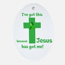 Green Jesus has got me Ornament (Oval)